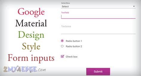 design form using div google material design style input types using css 2my4edge
