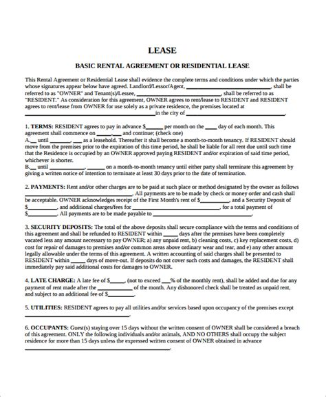 10 Sle Blank Lease Agreement Templates Sle Templates Blank Rental Lease Agreement Template