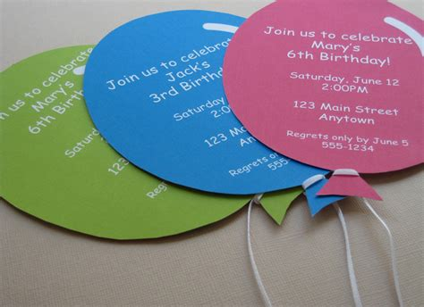 Personalized balloon party invitations handmade