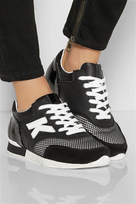 karl lagerfeld sneakers karl lagerfeld leather suede and mesh sneakers in black lyst