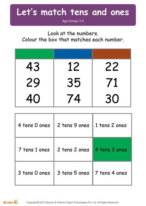 printable tens and units worksheets math tens and ones worksheets 1st grade math and