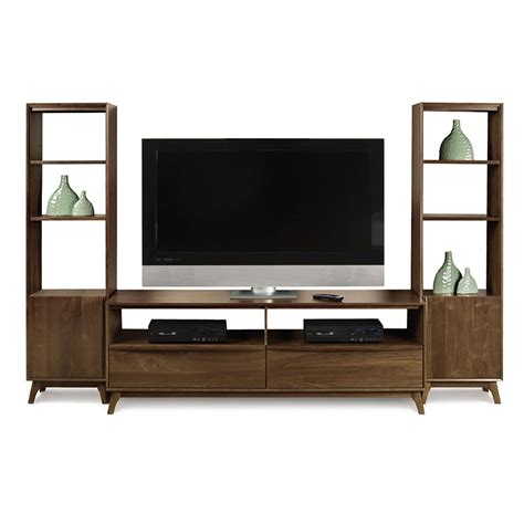 wall media unit catalina walnut tv media wall unit american made