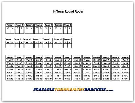 6 team draw template 14 team robin tournament bracket