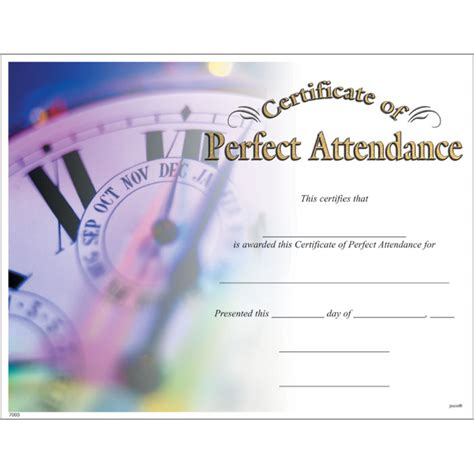 perfect attendance certificate jones school supply
