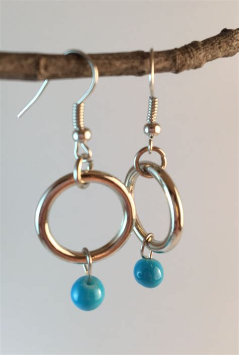 Handmade Beaded Earrings - hoop earrings beaded earrings handmade earrings turquoise