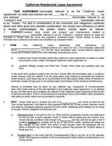 Residential Lease Agreement Template Free California Residential Lease Agreement Form Pdf