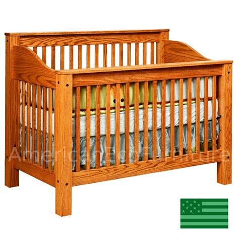 Usa Baby Cribs Amish Mission 4 In 1 Convertible Baby Crib Solid Wood Made In Usa American Eco Furniture