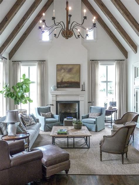 a gorgeous vaulted ceiling makes this living room feel