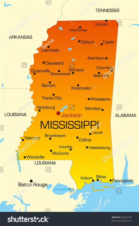 mississippi state colors vector color map mississippi state usa stock vector