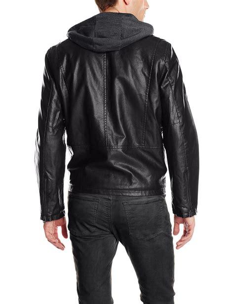 hooded motorcycle jacket levi s men s faux leather hooded motorcycle jacket ebay