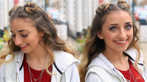 cute girls hairstyles for your crush brooklyn s double bun half up hairstyle hair hack cute