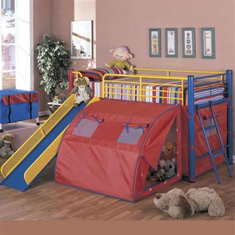 bunk bed with fort yellow and blue tent loft bunk bed fort with slide