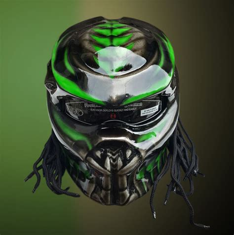 light motocross helmet green alien predator motorcycle helmet with laser light
