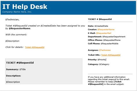 service desk email templates html in email templates