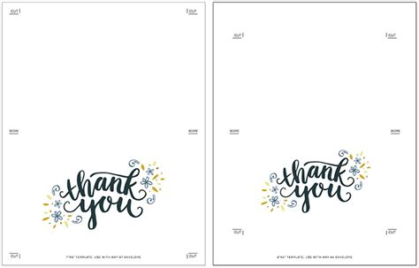 thank you card size template freebie printable thank you card