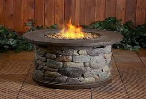 """New Round 35"""" Wide Outdoor LP Propane Gas Firepit Fire"""