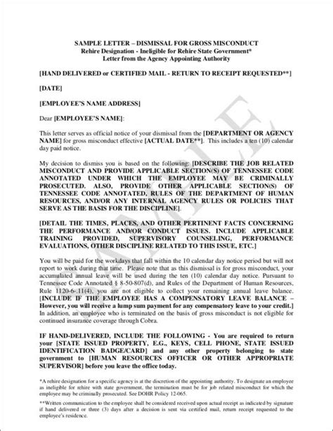 termination letter sle misconduct termination letter sle due to misconduct 28 images