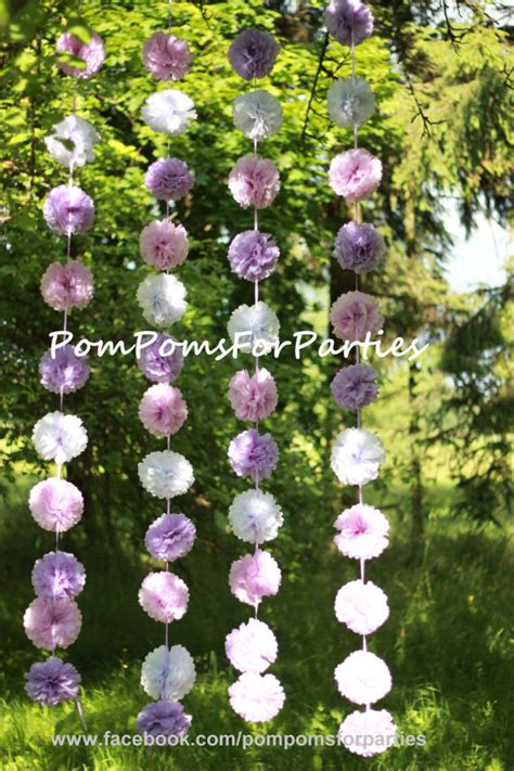 medium sized pomeranian hanging garland medium size paper pom poms open air backyard decorations
