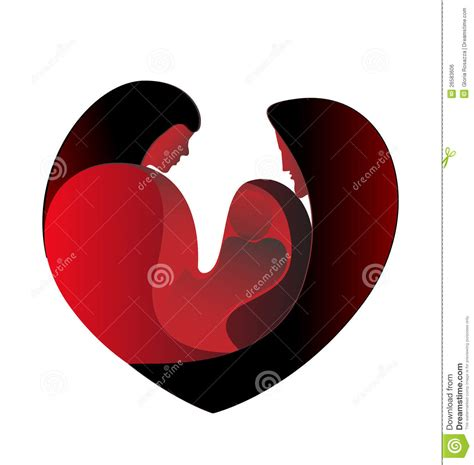 Big Heart Love Family Pictures | family love in a big heart royalty free stock image