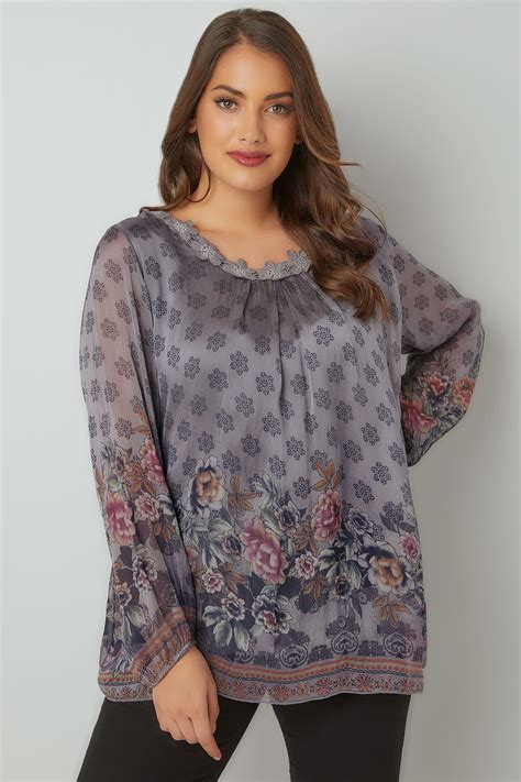 Id 2248 Crochet V Neck With Inner Blouse paprika grey floral print blouse with crochet neckline plus size 16 to 24