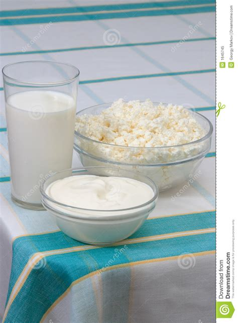 Cottage Cheese From Sour Milk by Milk Sour And Cottage Cheese Royalty Free Stock