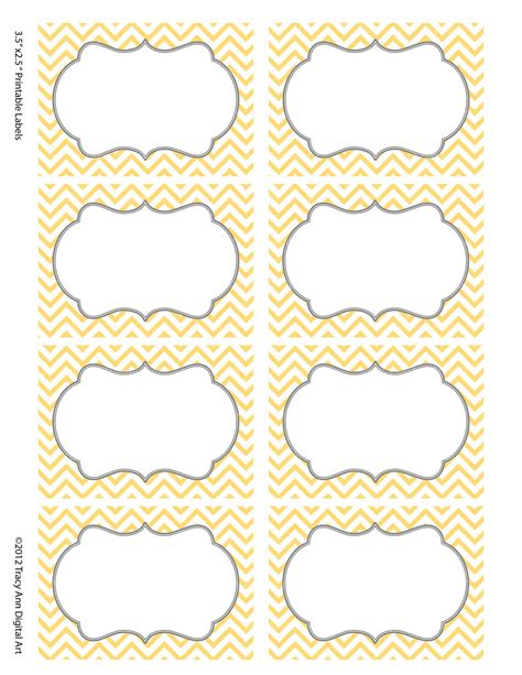 printable labels yellow chevron labels print your own labels yellow and grey