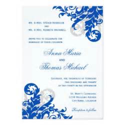 royal invitation template royal blue and silver flourish wedding invitation zazzle