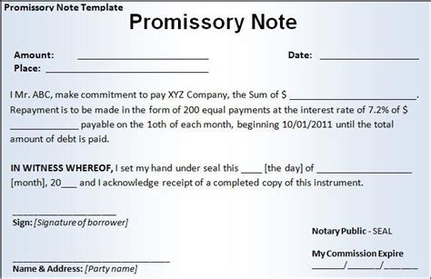 12 Promissory Note Templates Free Word Templates Promise To Pay Note Template
