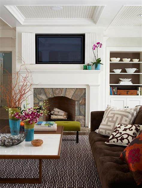 Decorating Fireplace Mantel With Tv Above by Bhg Style Spotters