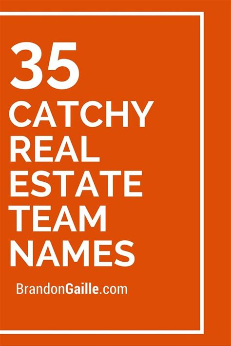 team names real estates and names on