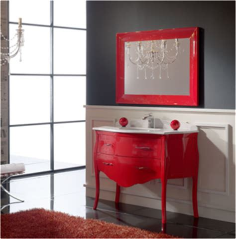 bathroom with red accents spa designspeak