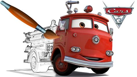 cars red coloring pages cars 3 fire truck red coloring book pages video for kids