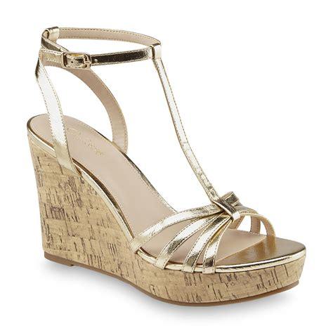 Sandal Platform Wedges Slop Gold smith s gold platform dress sandal wide width available