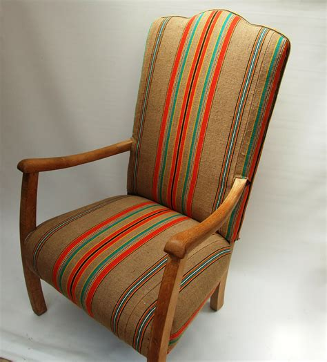 1930s fireside chair recovered in vintage