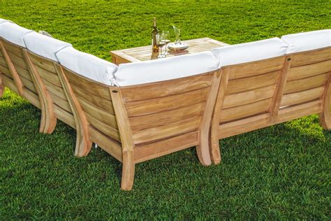 wood patio sectional 5 pc a grade teak wood outdoor teakwood patio sectional
