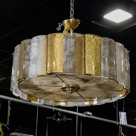 Drum Shaped Pendant Lights Large Murano Hanging Drum Shaped Fixture With Gold And Clear Glass Panels For Sale At 1stdibs