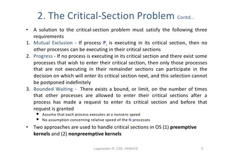 critical sections 6 synchronisation