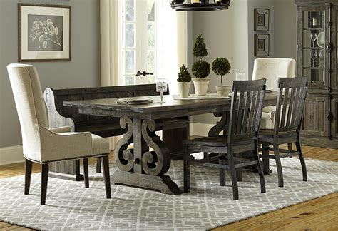 Magnussen Dining Room Furniture Magnussen Home Bellamy Magn Grp D2491 Tbl 5 Bench Dining Table 3 Wooden Side Chairs 2