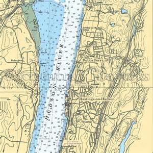 Coastal Kitchen Table - new york dobbs ferry hudson river nautical chart decor