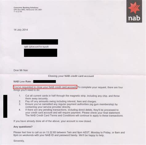 Sle Credit Card Closing Letter My Nab Credit Card Misadventure Resolved Srikanth A Nair