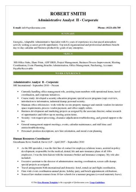 Administrative Analyst Sle Resume by Administrative Analyst Resume Sles Qwikresume