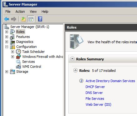 domain controller server manager configuration