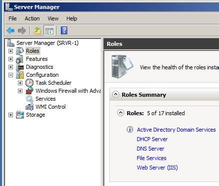 domain controller server manager configuration