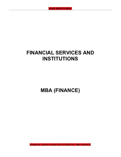 Financial Institutions And Services Notes For Mba financial services and institutions mba fin