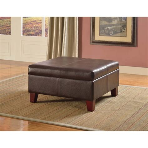 Living Room Storage Ottoman | luxury large brown faux leather storage ottoman table