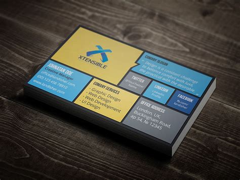 Flat Design Business Card Template by Flat Corporate Personal Business Card Landisher