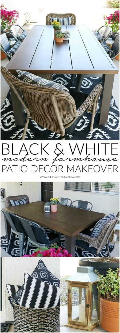 black white modern farmhouse patio decor