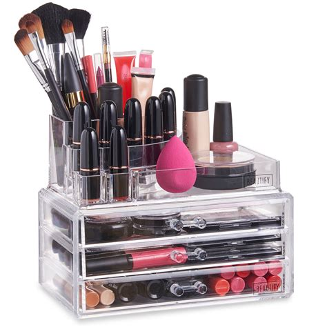 Acrylic Makeup Drawers Uk by Beautify Acrylic Make Up Organiser Clear 3 Drawer Cosmetic