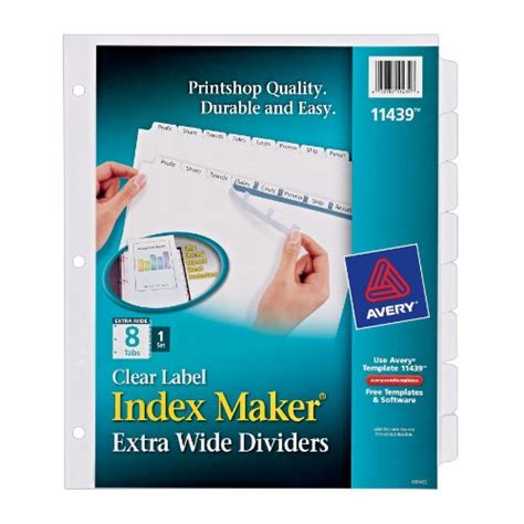 Avery Index Maker Extra Wide Clear Label Dividers White 8 Tab Set 11439 Beesleyzxfdsewqas Avery Easy Apply Label Sheet 8 Tab Template