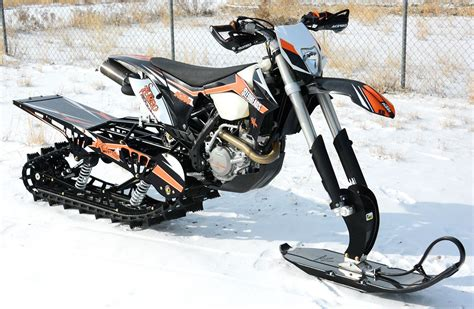 snow motocross bike snowest snow bike project ktm 500 turbo snow bike world
